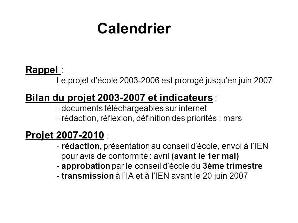 Calendrier Rappel : Le projet d'école 2003-2006 est prorogé jusqu'en juin 2007.