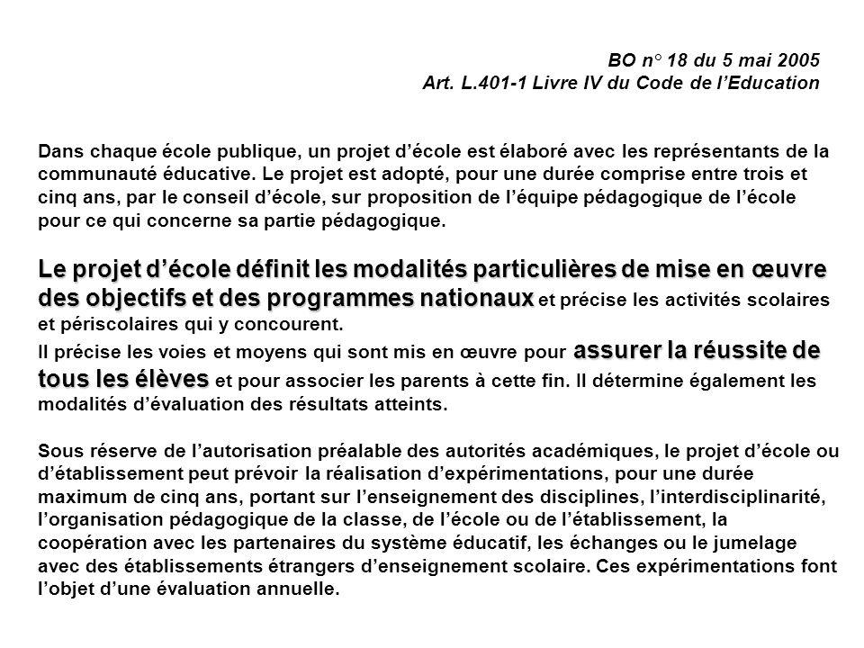 BO n° 18 du 5 mai 2005 Art. L.401-1 Livre IV du Code de l'Education