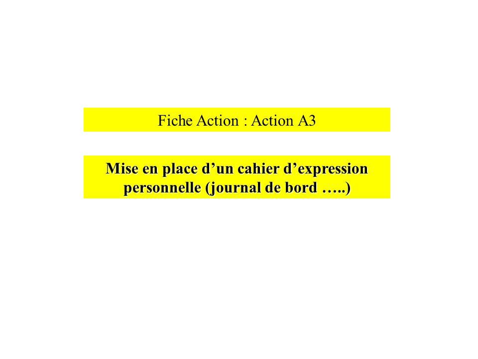 Fiche Action : Action A3 Mise en place d'un cahier d'expression personnelle (journal de bord …..)