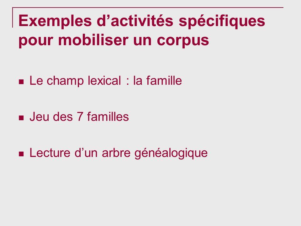 Exemples d'activités spécifiques pour mobiliser un corpus