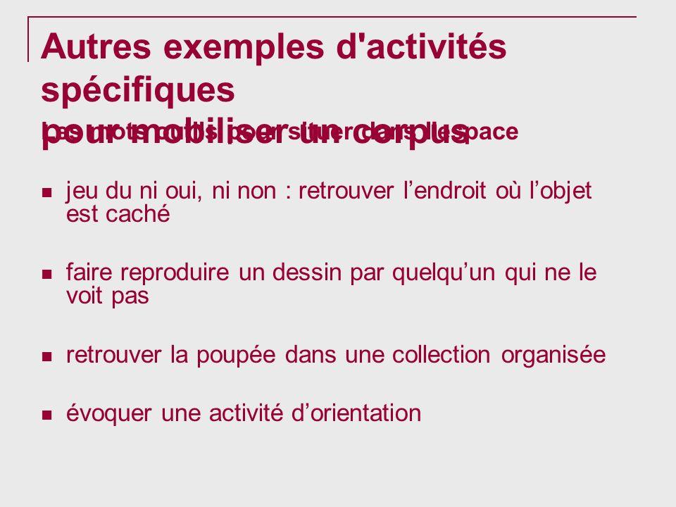 Autres exemples d activités spécifiques pour mobiliser un corpus