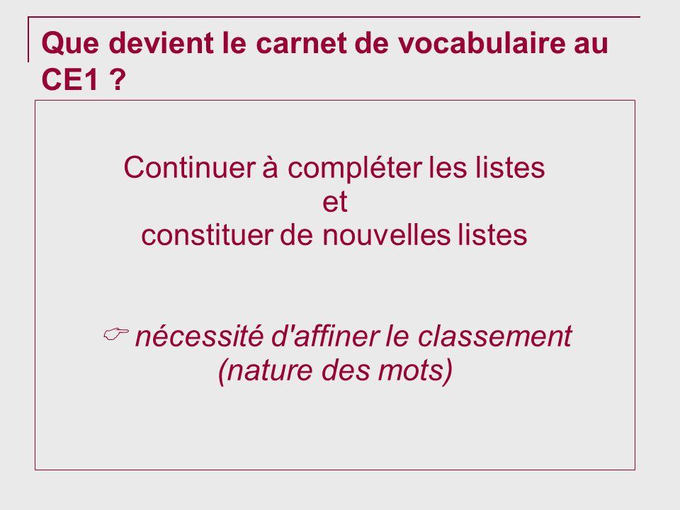 Que devient le carnet de vocabulaire au CE1