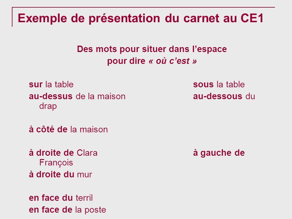 Exemple de présentation du carnet au CE1