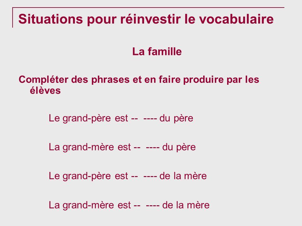 Situations pour réinvestir le vocabulaire