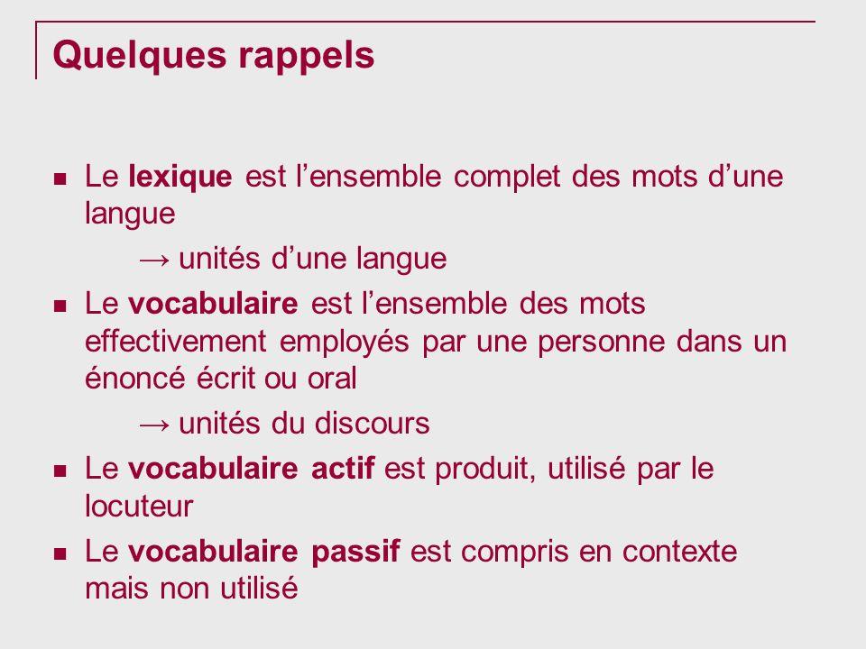 Quelques rappels Le lexique est l'ensemble complet des mots d'une langue. → unités d'une langue.