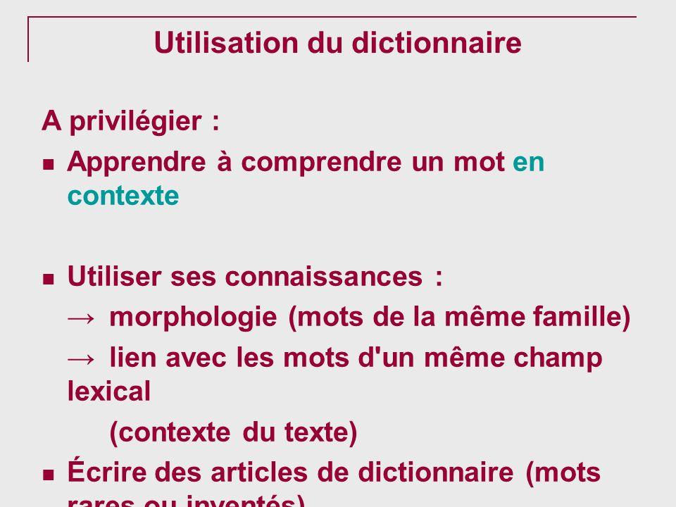 Utilisation du dictionnaire
