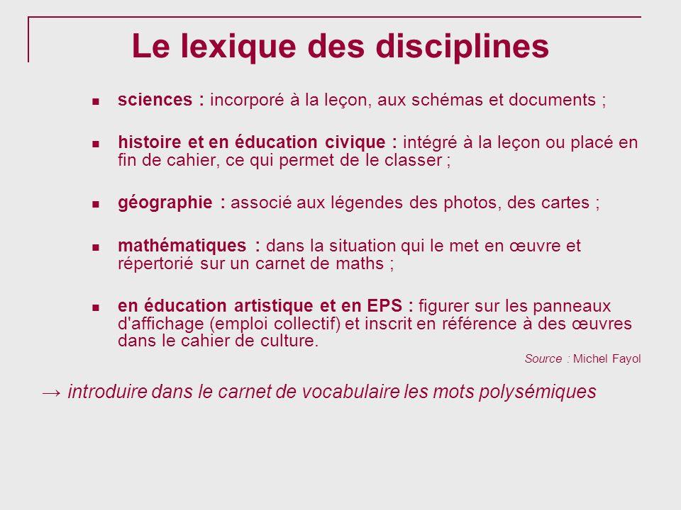 Le lexique des disciplines