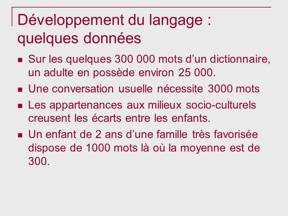 Développement du langage : quelques données
