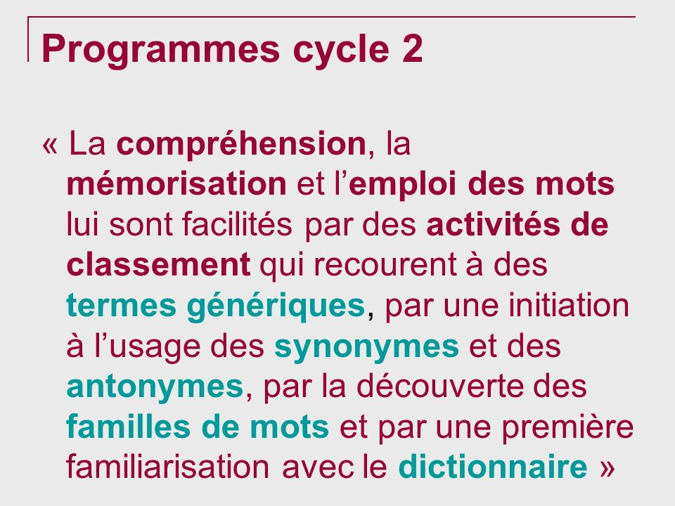 Programmes cycle 2