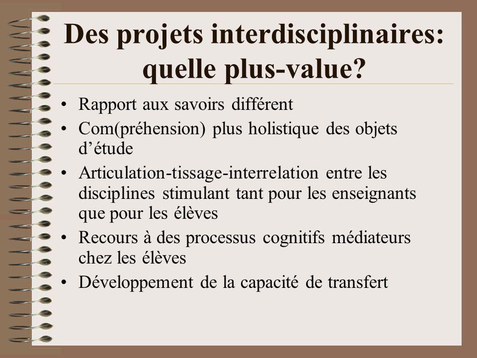 Des projets interdisciplinaires: quelle plus-value