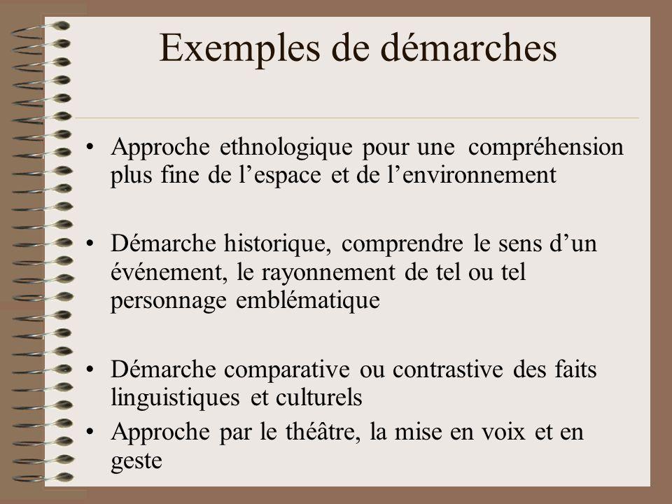 Exemples de démarches Approche ethnologique pour une compréhension plus fine de l'espace et de l'environnement.