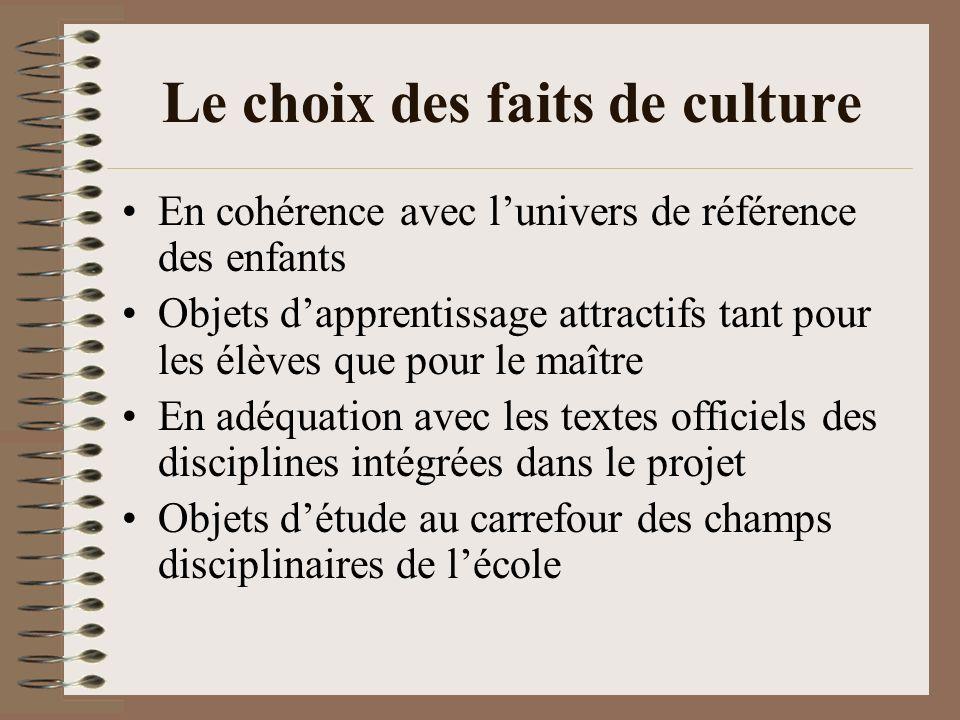 Le choix des faits de culture