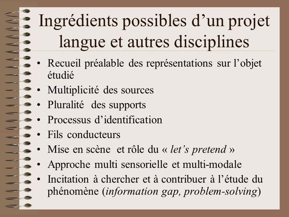Ingrédients possibles d'un projet langue et autres disciplines