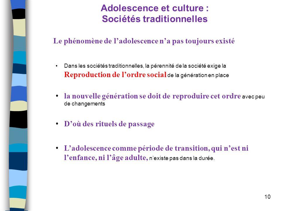 Adolescence et culture : Sociétés traditionnelles