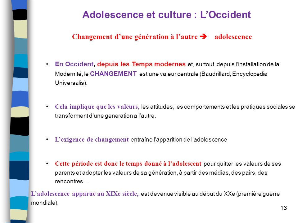 Adolescence et culture : L'Occident