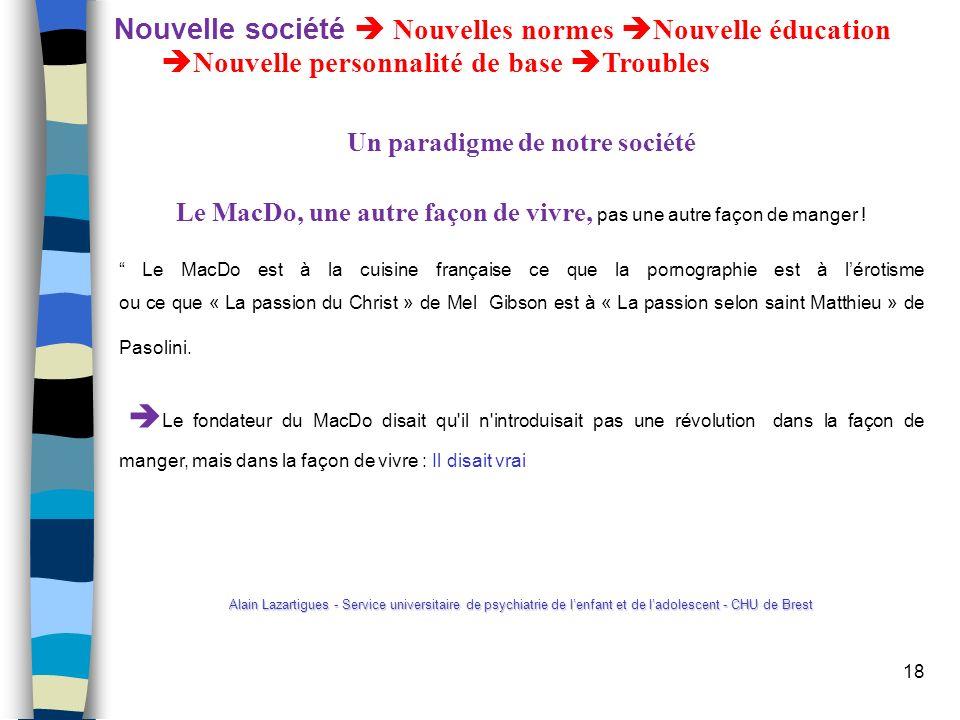 Nouvelle société  Nouvelles normes Nouvelle éducation