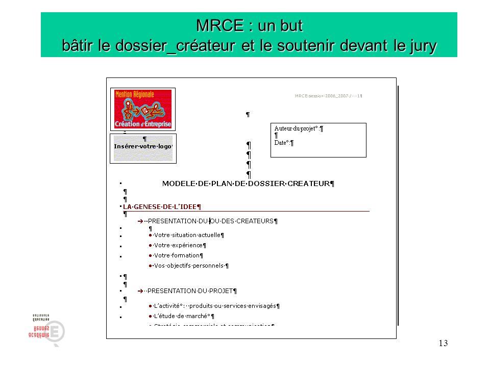 MRCE : un but bâtir le dossier_créateur et le soutenir devant le jury