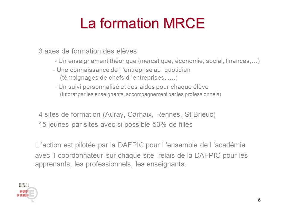 La formation MRCE 3 axes de formation des élèves