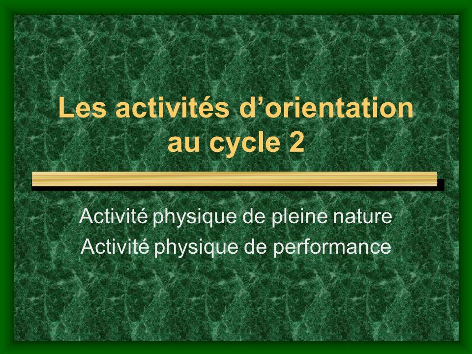 Les activités d'orientation au cycle 2