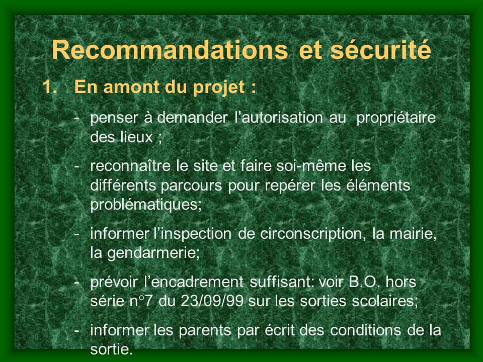 Recommandations et sécurité