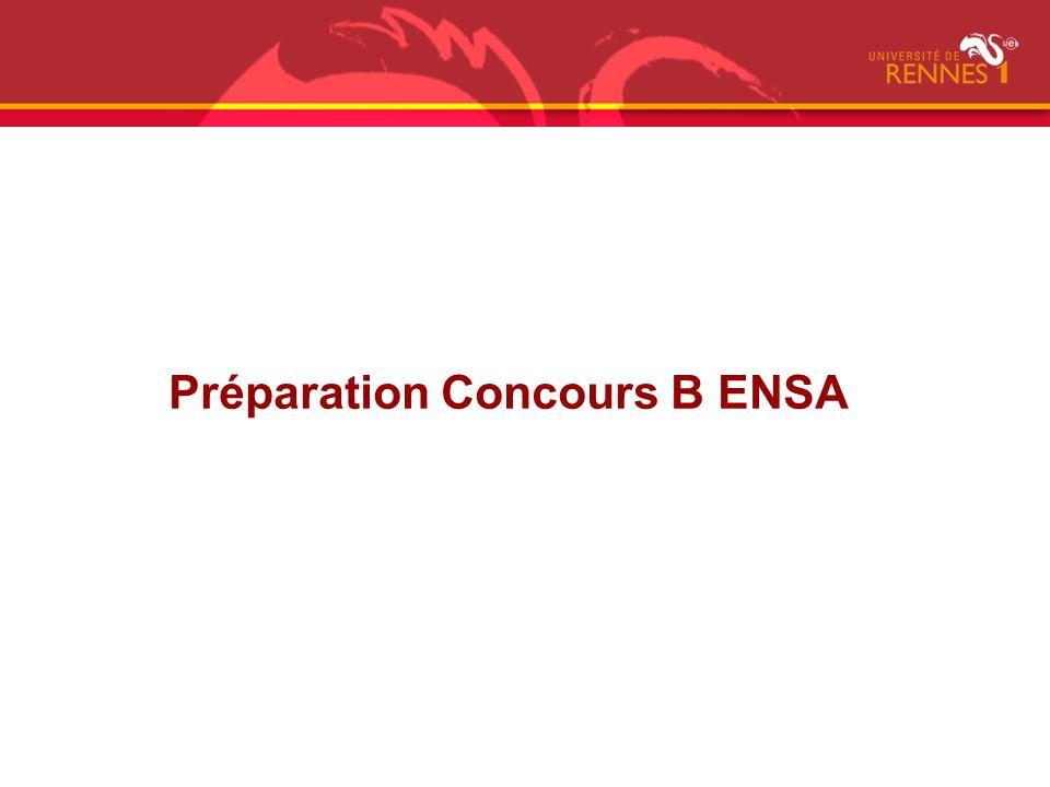 Préparation Concours B ENSA