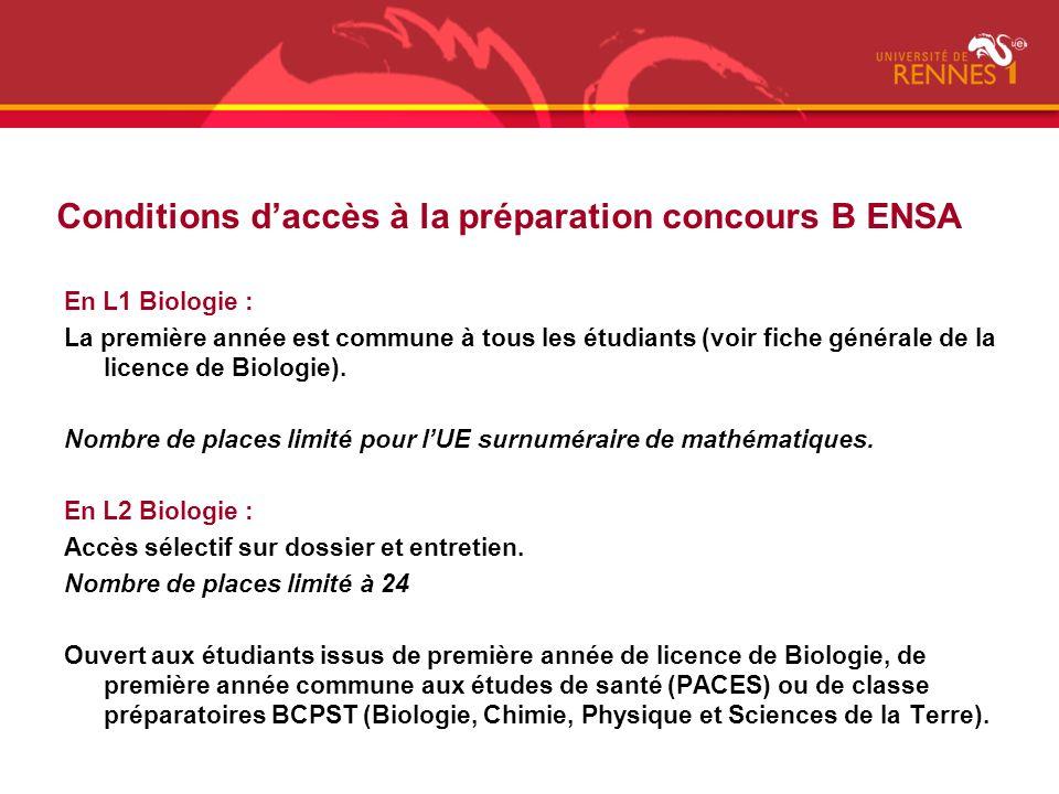 Conditions d'accès à la préparation concours B ENSA