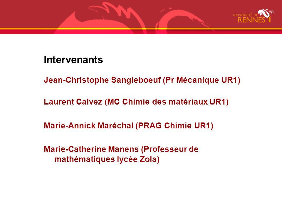 Intervenants Jean-Christophe Sangleboeuf (Pr Mécanique UR1)
