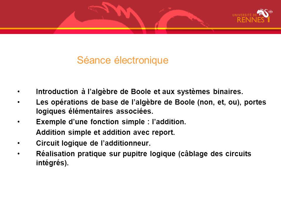 Séance électronique Introduction à l'algèbre de Boole et aux systèmes binaires.