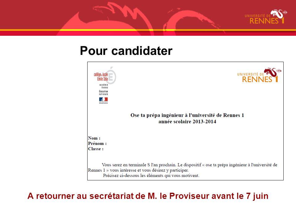 Pour candidater A retourner au secrétariat de M. le Proviseur avant le 7 juin