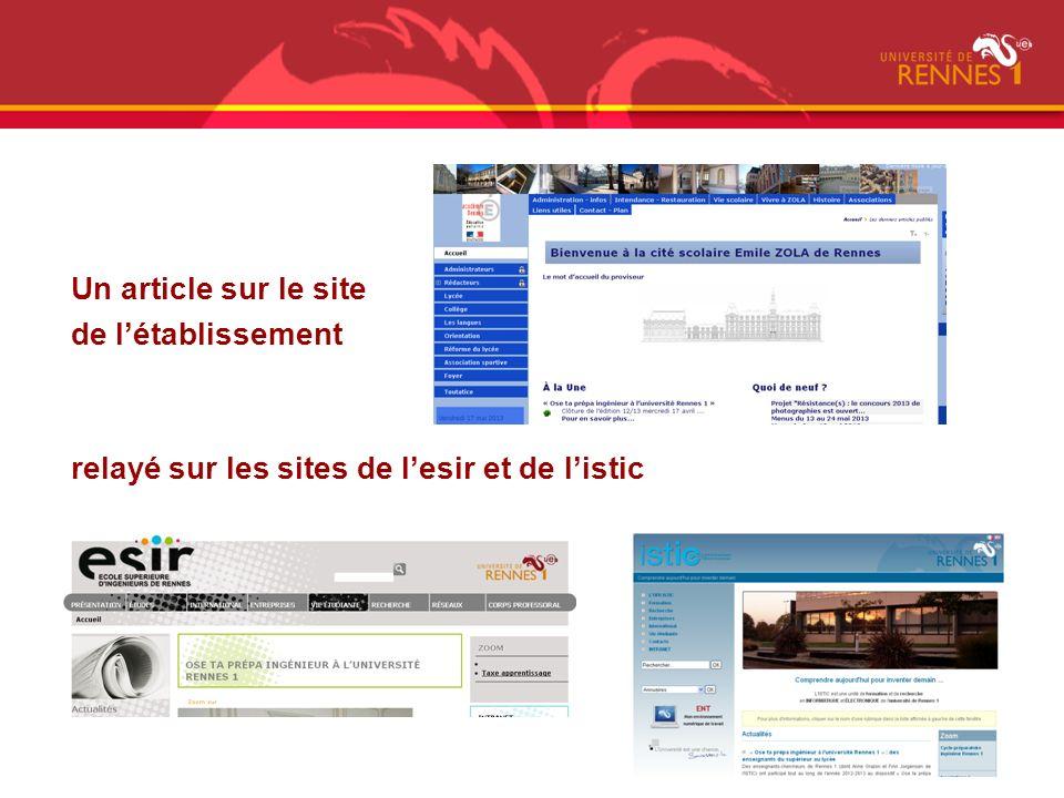 Un article sur le site de l'établissement relayé sur les sites de l'esir et de l'istic