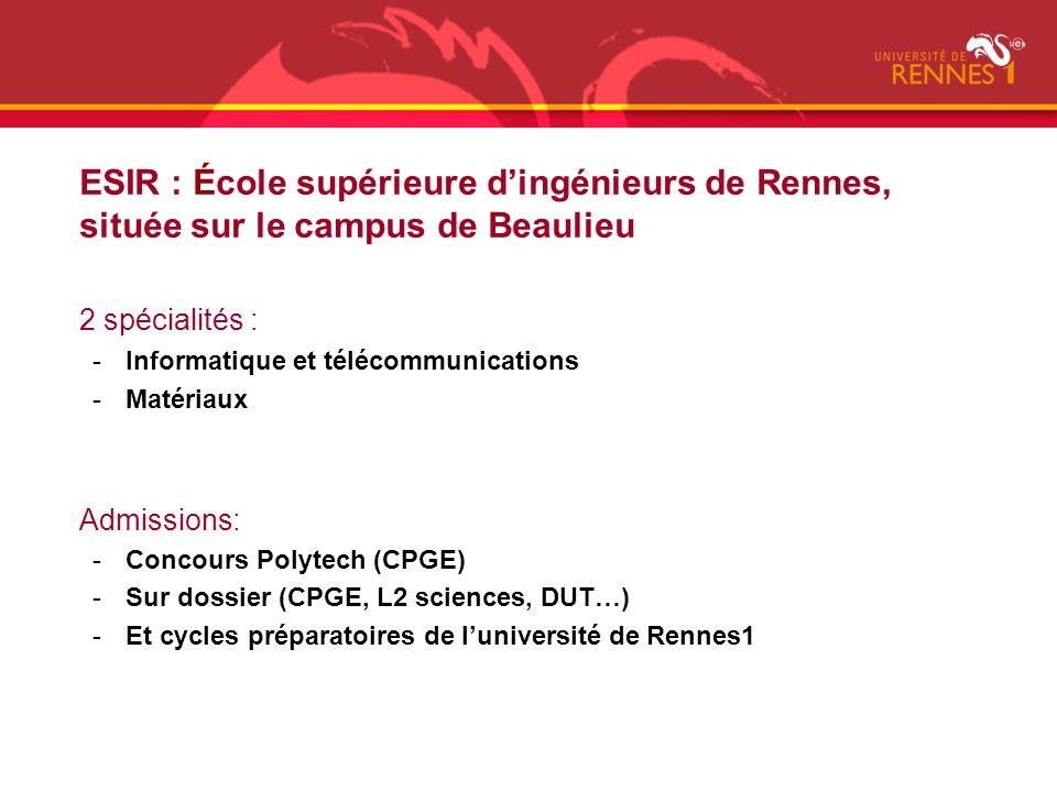 ESIR : École supérieure d'ingénieurs de Rennes, située sur le campus de Beaulieu