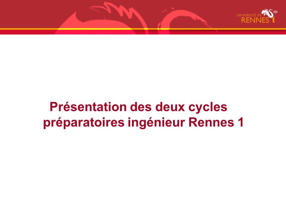 Présentation des deux cycles préparatoires ingénieur Rennes 1