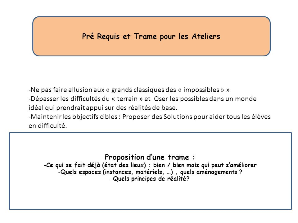 Pré Requis et Trame pour les Ateliers Proposition d'une trame :