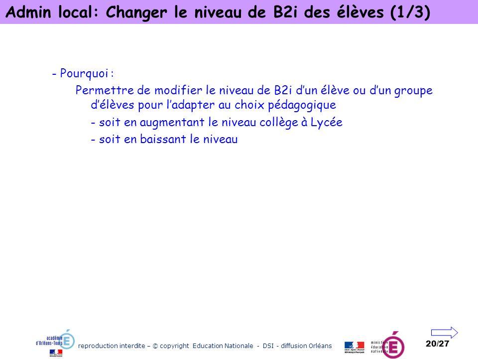 Admin local: Changer le niveau de B2i des élèves (1/3)