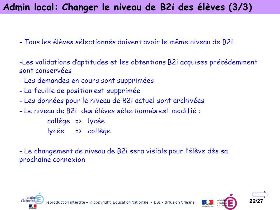 Admin local: Changer le niveau de B2i des élèves (3/3)