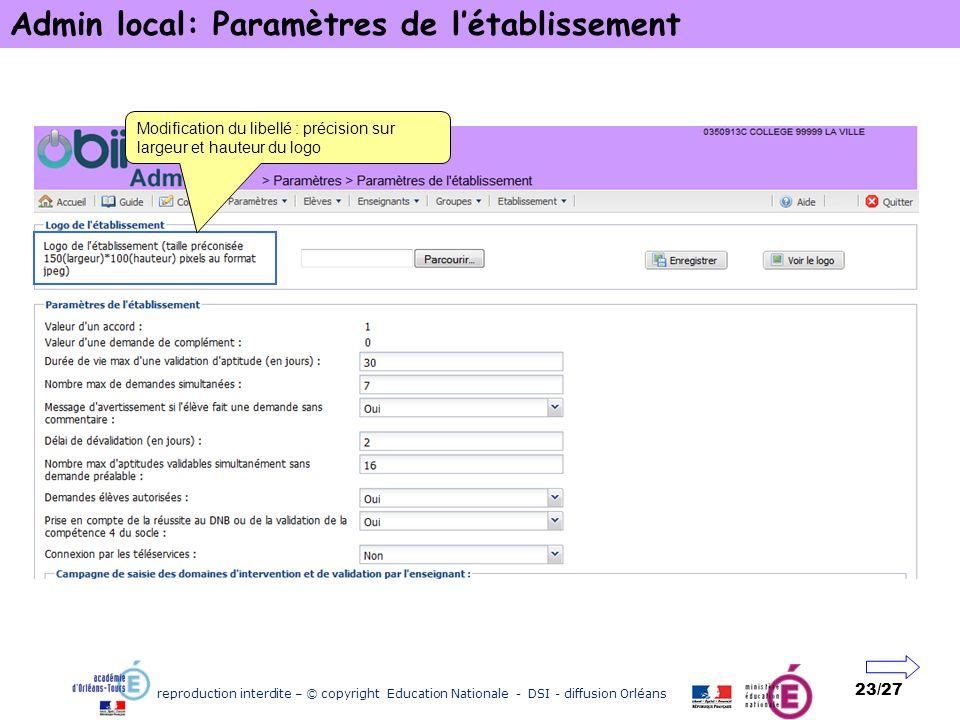 Admin local: Paramètres de l'établissement