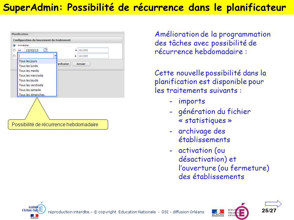 SuperAdmin: Possibilité de récurrence dans le planificateur