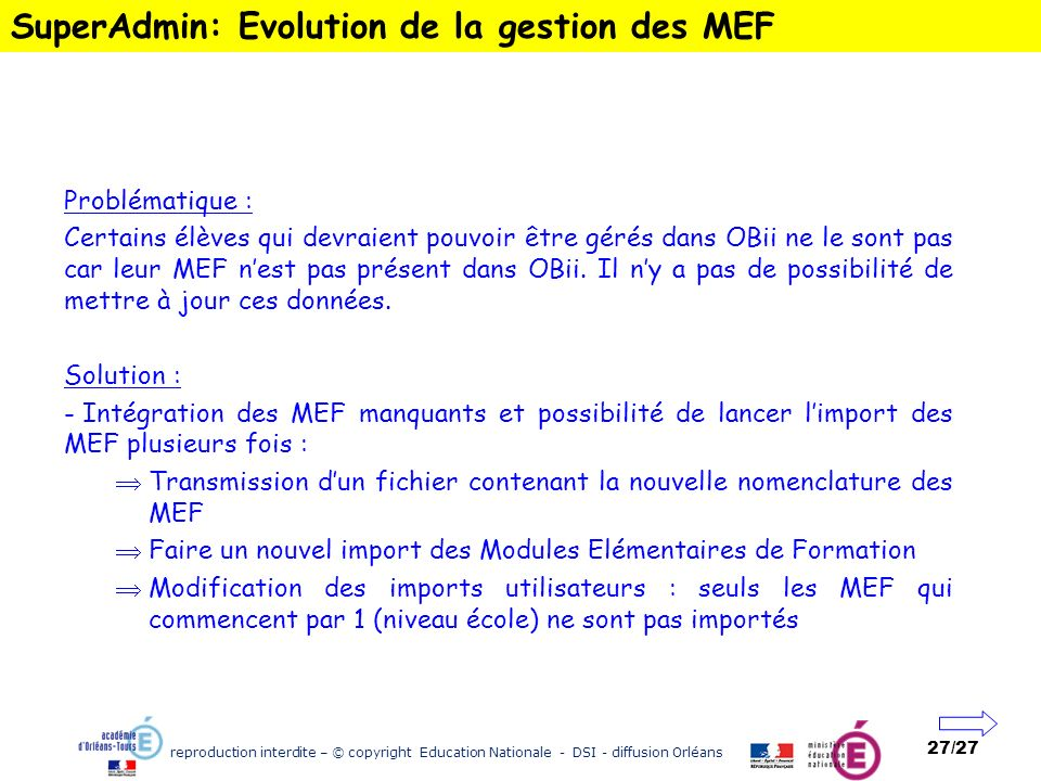 SuperAdmin: Evolution de la gestion des MEF