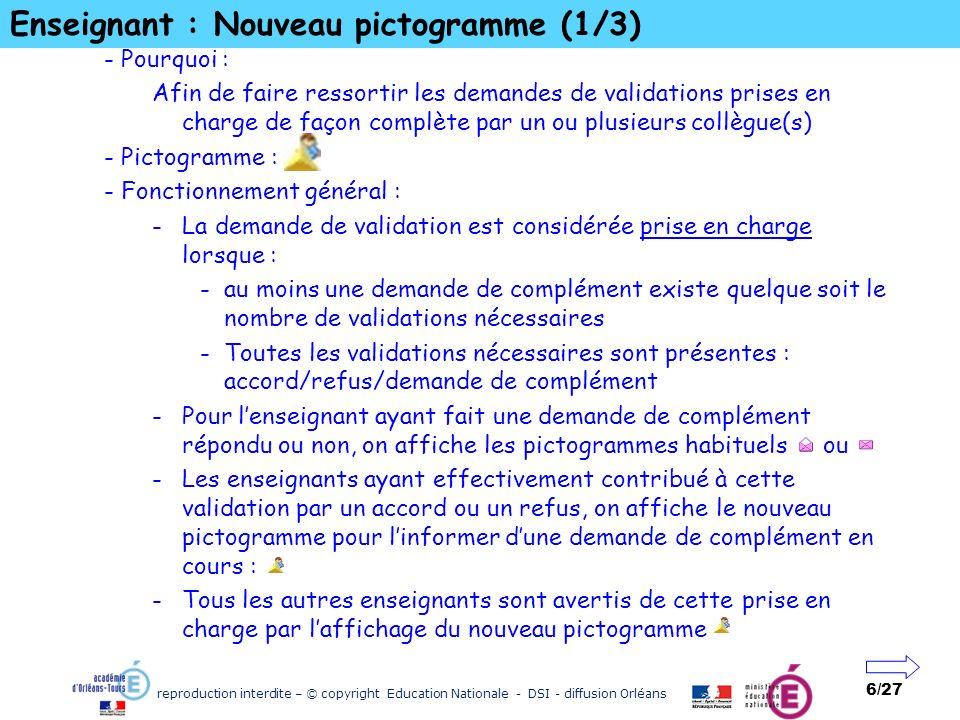 Enseignant : Nouveau pictogramme (1/3)