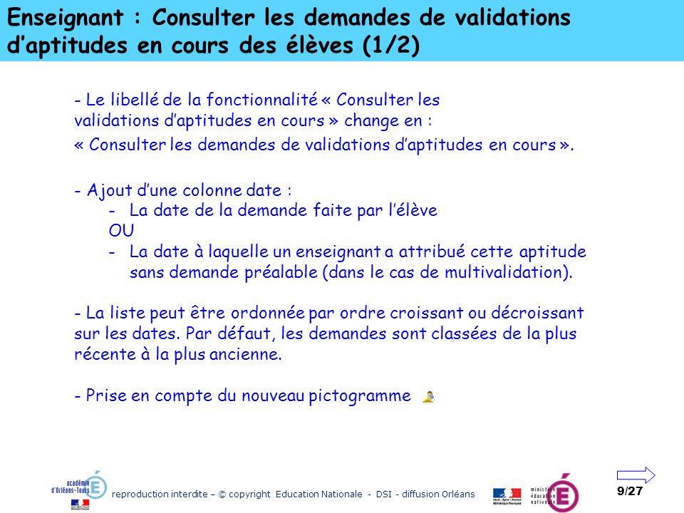 Enseignant : Consulter les demandes de validations d'aptitudes en cours des élèves (1/2)