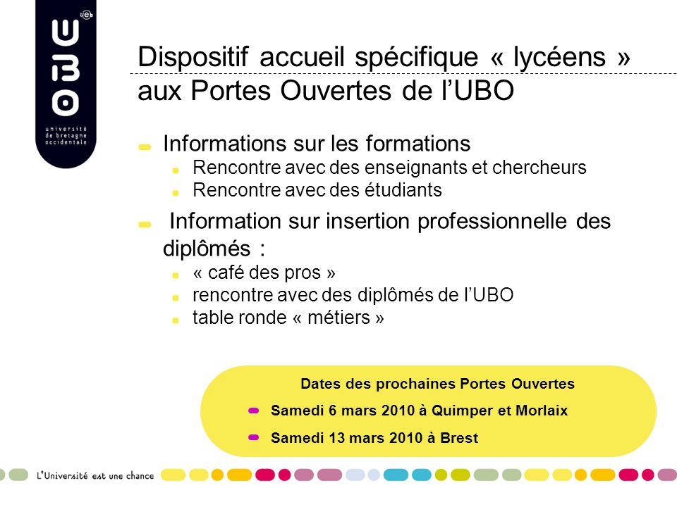 Dispositif accueil spécifique « lycéens » aux Portes Ouvertes de l'UBO
