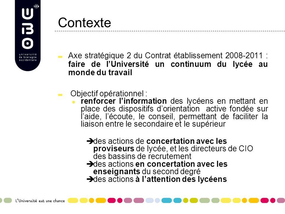Contexte Axe stratégique 2 du Contrat établissement 2008-2011 : faire de l'Université un continuum du lycée au monde du travail.