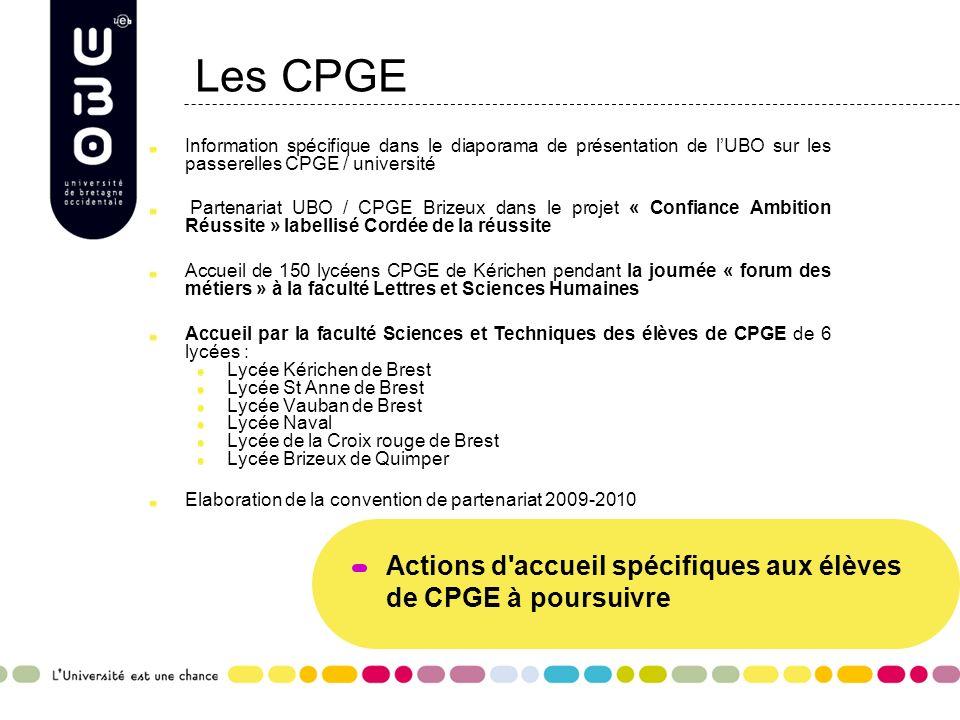 Les CPGE Actions d accueil spécifiques aux élèves de CPGE à poursuivre