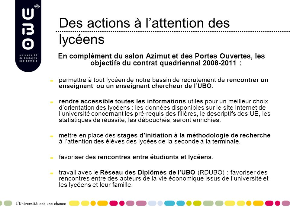 Des actions à l'attention des lycéens
