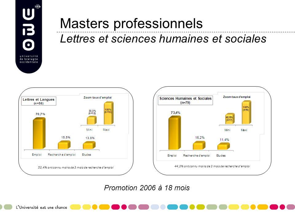 Masters professionnels Lettres et sciences humaines et sociales
