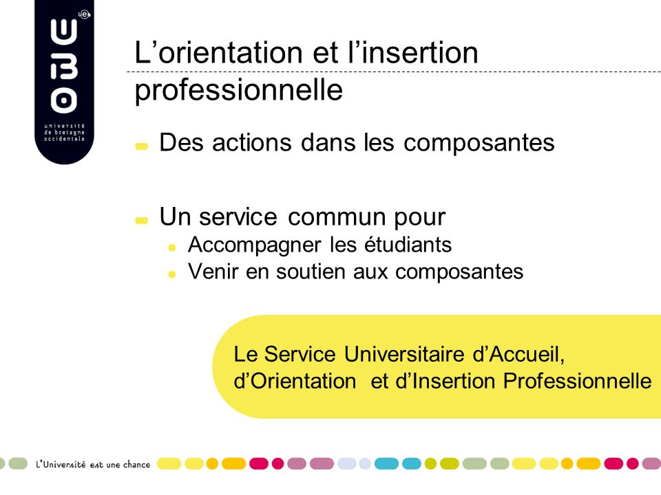 L'orientation et l'insertion professionnelle