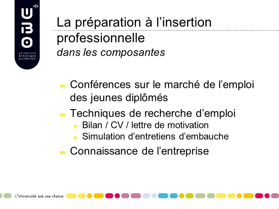 l u2019orientation et l u2019insertion professionnelle  u00e0 l u2019ubo