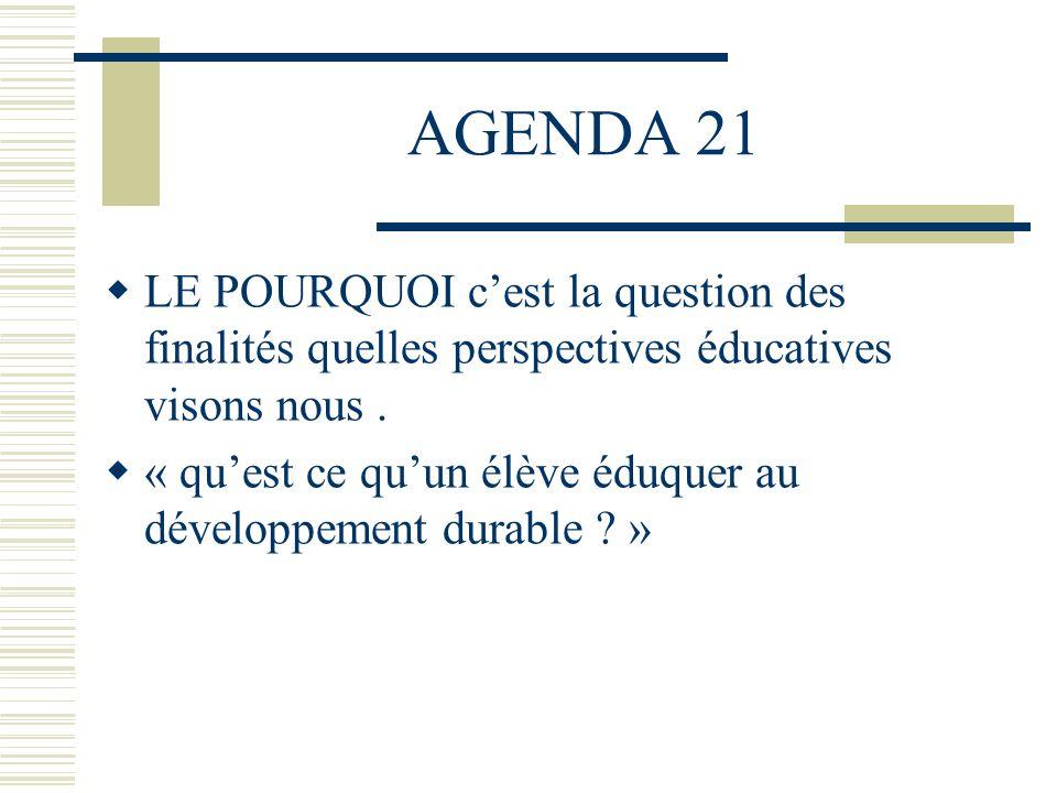 AGENDA 21 LE POURQUOI c'est la question des finalités quelles perspectives éducatives visons nous .