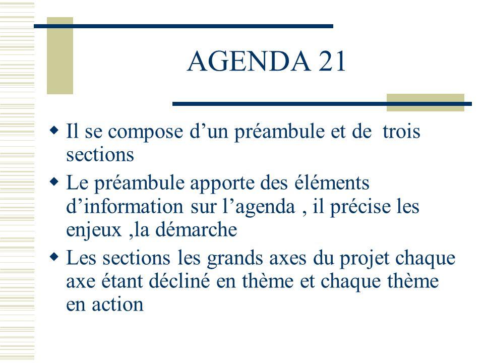 AGENDA 21 Il se compose d'un préambule et de trois sections