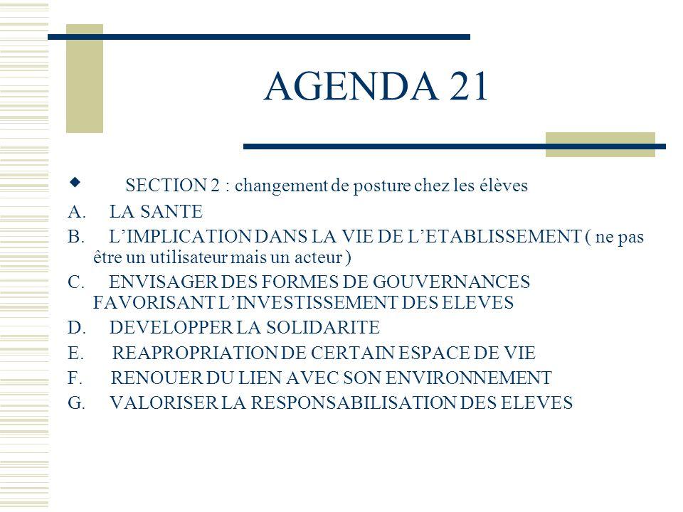 AGENDA 21 SECTION 2 : changement de posture chez les élèves